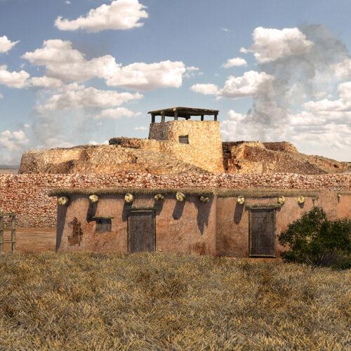 Recreación 3D de la Motilla del Azuer y su poblado